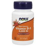 Βιταμίνη D3 5000 IU, 120 softgels, Now Foods