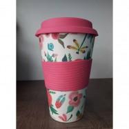 Κούπα από μπαμπού (λεπτή σιλικόνη), ροζ