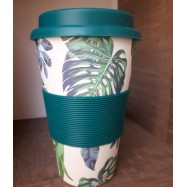 Κούπα από μπαμπού, βεραμάν φύλλα, 400 ml