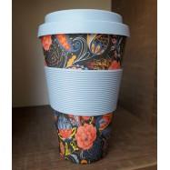 Κούπα από μπαμπού, γαλάζιο φλοράλ, 400 ml