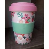 Κούπα από μπαμπού, ροζ φλοράλ, 550 ml